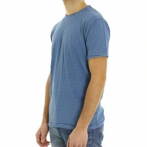 T-SHIRT RIGHE SOLID BLU