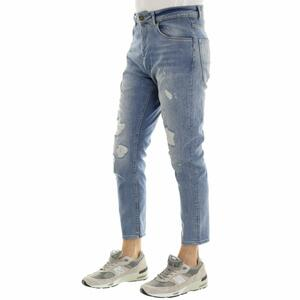 JEANS DESTROYED CARROT AZZURRO
